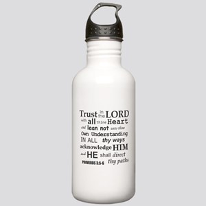 Proverbs 3:5-6 KJV Dark Gray Print Stainless Water