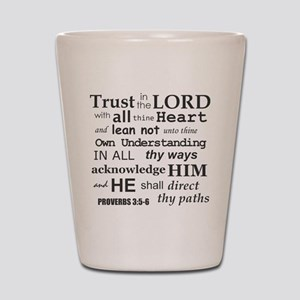 Proverbs 3:5-6 KJV Dark Gray Print Shot Glass