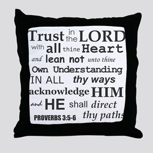 Proverbs 3:5-6 KJV Dark Gray Print Throw Pillow