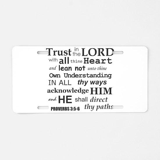 Proverbs 3:5-6 KJV Dark Gray Print Aluminum Licens