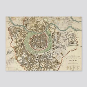 Vintage Map of Vienna Austria (1833 5'x7'Area Rug