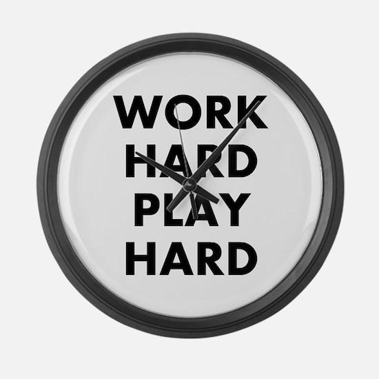 Work Hard Play Hard Large Wall Clock
