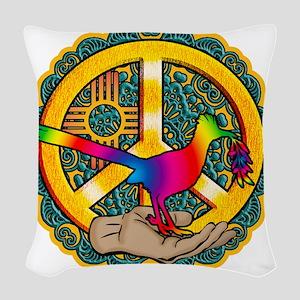 PEACE ROADRUNNER Woven Throw Pillow