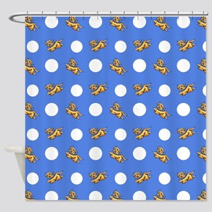 Havanese Blue Polka Shower Curtain