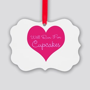 Will Run For Cupcakes Picture Ornament