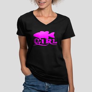 BASS GIRL Women's V-Neck Dark T-Shirt