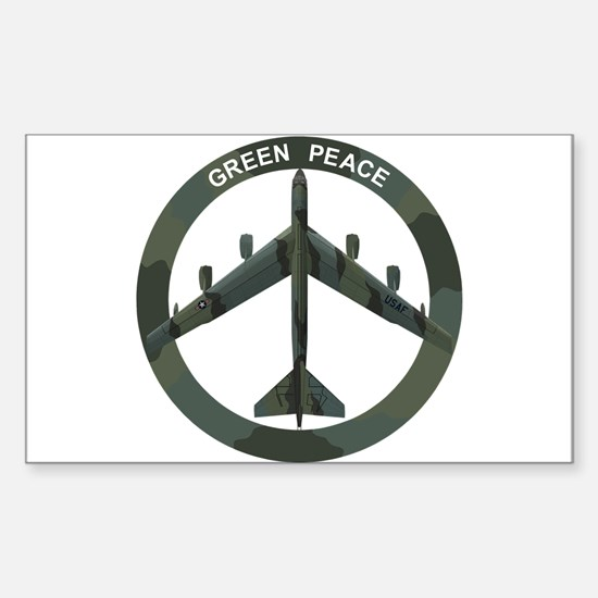B-52 Peace Sign Sticker (Rectangle)
