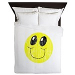 Vintage Smiling Smiley Face Queen Duvet