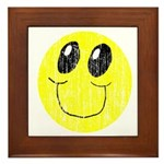 Vintage Smiling Smiley Face Framed Tile