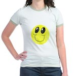 Vintage Smiling Smiley Face Jr. Ringer T-Shirt