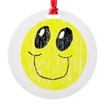 Vintage Smiling Smiley Face Round Ornament