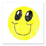 Vintage Smiling Smiley Face Square Car Magnet 3