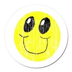 Vintage Smiling Smiley Face Round Car Magnet