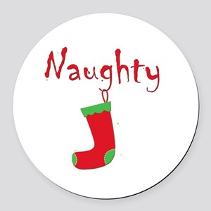 Naughty Round Car Magnet