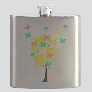 Yellow Butterfly Tree Flask