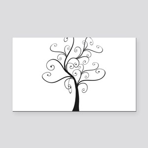 Swirly Tree Rectangle Car Magnet