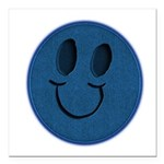 Blue Jeans Smiley Square Car Magnet 3