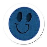 Blue Jeans Smiley Round Car Magnet