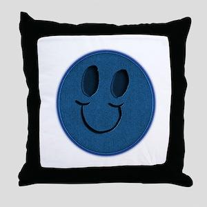 Blue Jeans Smiley Throw Pillow