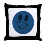 Blue Jeans Smiley Throw Pillow