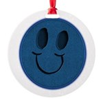 Blue Jeans Smiley Round Ornament