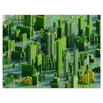 Circuit city, computer artwork Poster