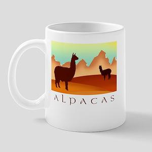 alpacas / mountains Mug