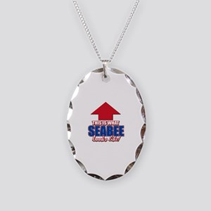 This is what Seabee looks like Necklace Oval Charm
