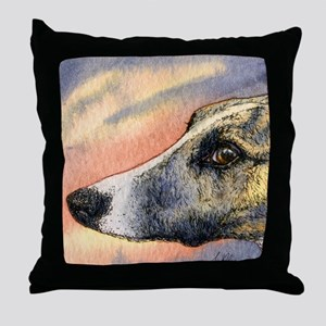 Brindle whippet greyhound dog Throw Pillow
