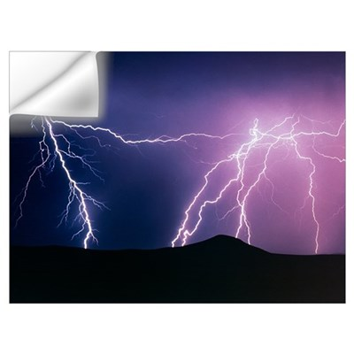 Lightning strikes at night, New Mexico Wall Decal
