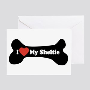 I Love My Sheltie - Dog Bone Greeting Card