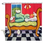 White Cat Woman Napping Italy Shower Curtain
