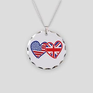 American Flag/Union Jack Hear Necklace Circle Char
