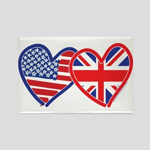 American Flag/Union Jack Hear Rectangle Magnet