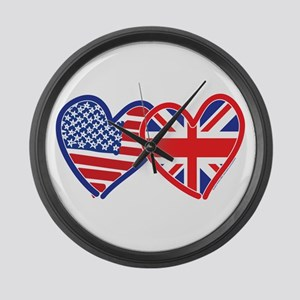 American Flag/Union Jack Hear Large Wall Clock