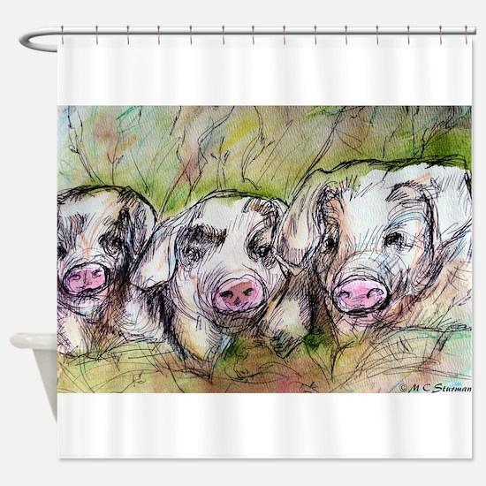 Piglets, Animal art! Shower Curtain
