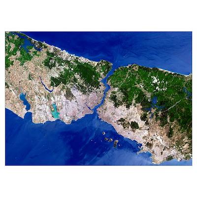 Istanbul, satellite image Poster