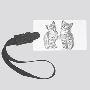 Tabby kittens Large Luggage Tag