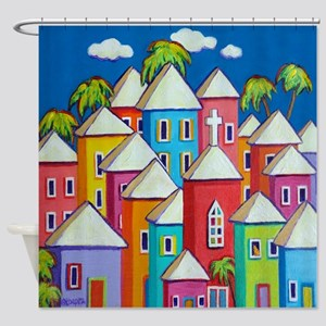 Colorful Houses Tropical Caribbean Shower Curtain