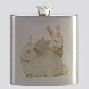 White easter rabbits Flask