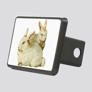 White easter rabbits Rectangular Hitch Cover