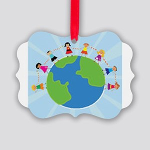 Kids Holding Hands Picture Ornament