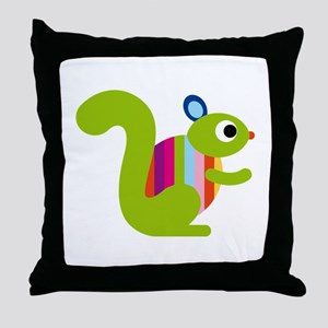 Rainbow Squirrel Throw Pillow
