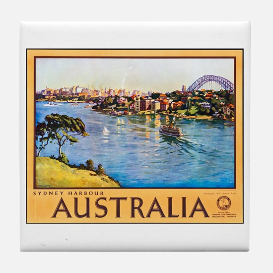 Australia Travel Poster 10 Tile Coaster