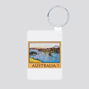 Australia Travel Poster 10 Aluminum Photo Keychain