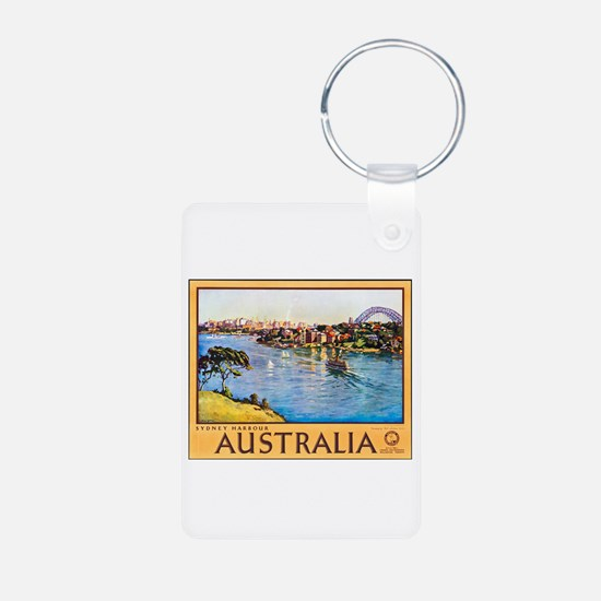 Australia Travel Poster 10 Aluminum Photo Keychain