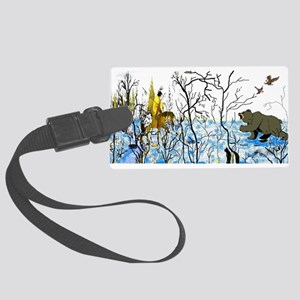 Native American Winter Warrior Large Luggage Tag