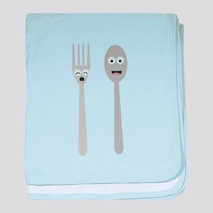 Spoon and Fork Kawaii baby blanket