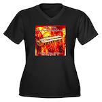 lava Women's Plus Size V-Neck Dark T-Shirt