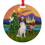 Amer Foxhound Round Ornament